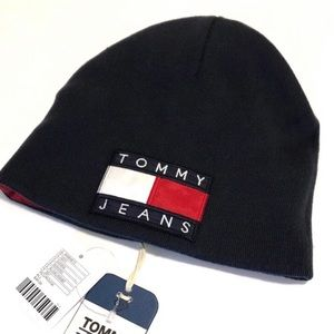 Tommy Jeans Beanie Reversible Navy Blue Red NWT